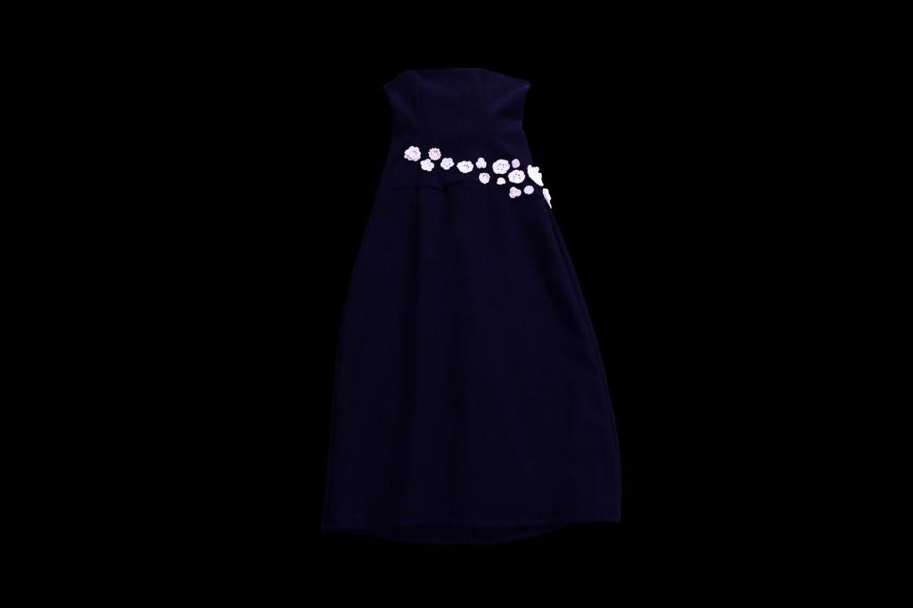 Robe fleurie bleu marine2